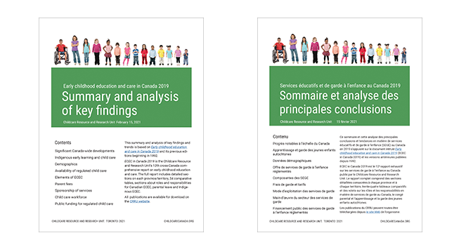 Cover of 'ECEC 2019:  Summary and analysis of key findings' in EN and FR