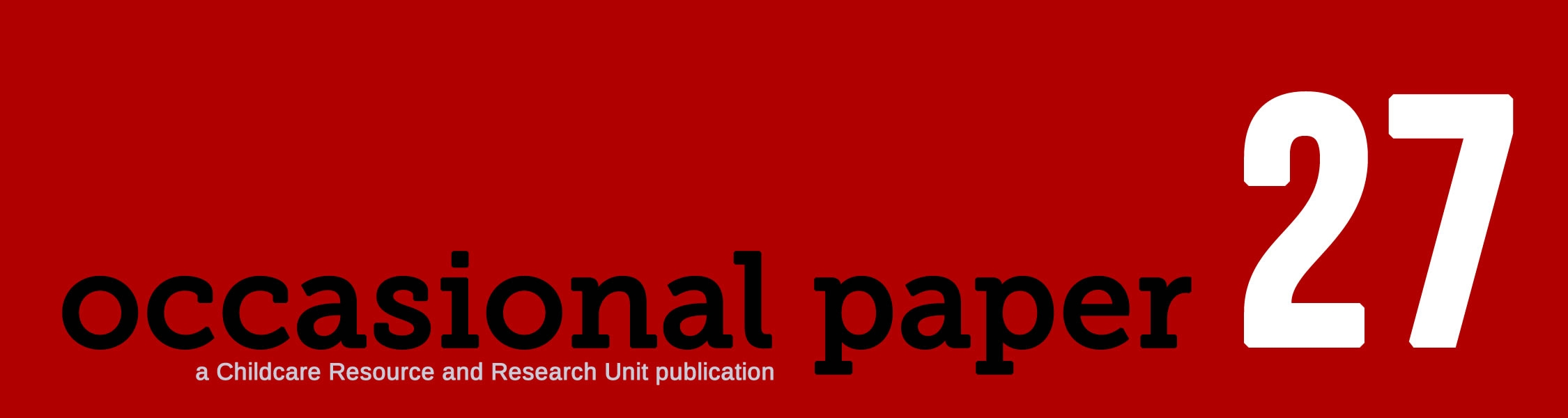 Occasional paper 27