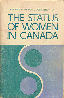 Cover graphic of the Royal Commission on the Status of Women