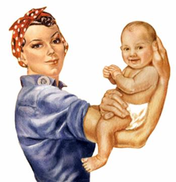 Image of Rosie the riveter with a baby in her arms