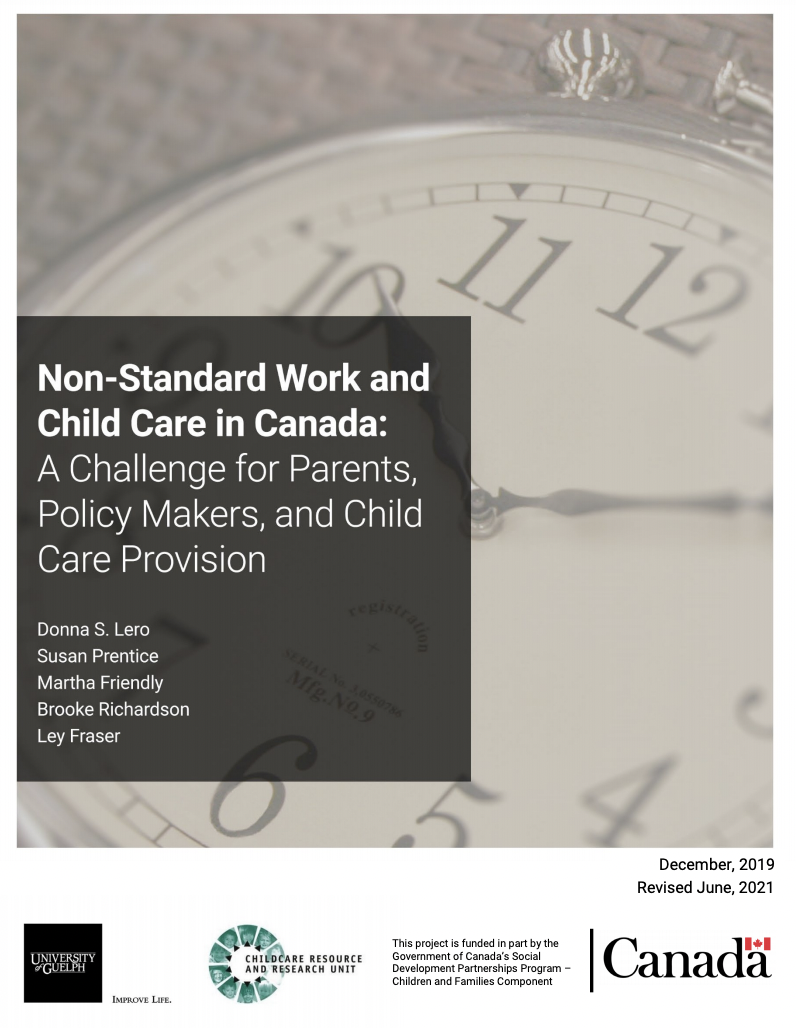 Title page includes: title, authors, affiliate organizations: University of Guelph, Childcare Resource and Research Unit, This project is funded in part by the Government of Canada's Social Development Partnership Program - Children and Families Component, there is an image of clock under the title.