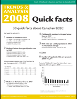 "cover image of ""30 quick facts about Canadian ECEC: Trends & analysis 2008"""