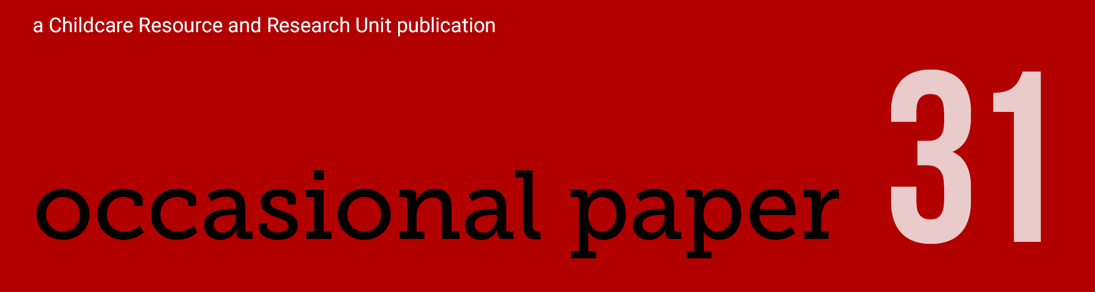 banner for occasional paper 31