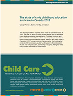 Cover image of 'The state of early childhood education and care in Canada 2012'