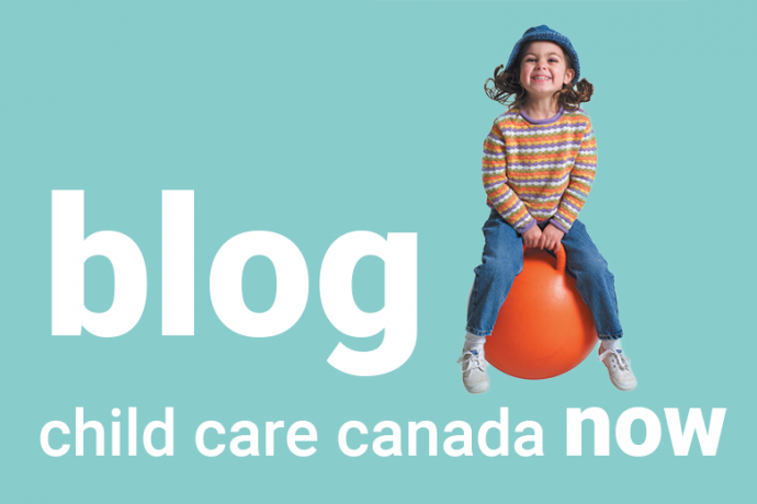 image of child with bounce ball and title 'blog: Child care Canada now'
