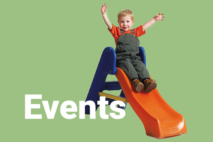 image of child on slide with title 'events'