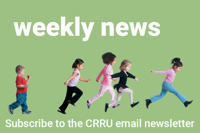 image of running kids with title 'weekly news'